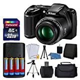 Nikon COOLPIX L340 20MP Digital Camera (Black) + AA Batteries & Charger + Transcend 32GB SDHC Memory Card + 50″ Quality Tripod – Full Value Bundle – International Version (No Warranty)