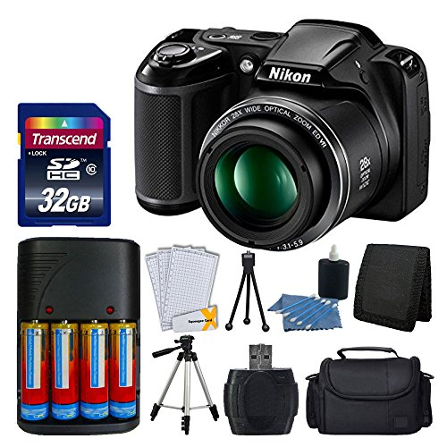 Nikon-COOLPIX-L340-20MP-Digital-Camera-Black-AA-Batteries-Charger-Transcend-32GB-SDHC-Memory-Card-50-Quality-Tripod-Full-Value-Bundle-International-Version-No-Warranty