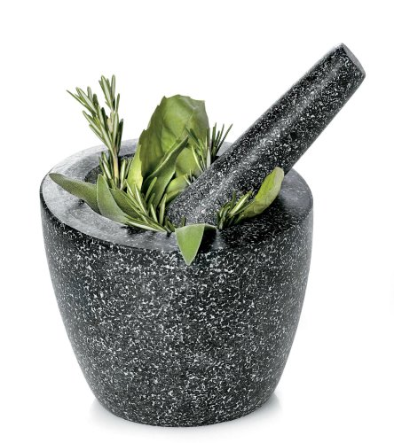 Fresco FMP 104 - 6-Inch Granite Mortar and Pestle, Angled, Gray FMP-104