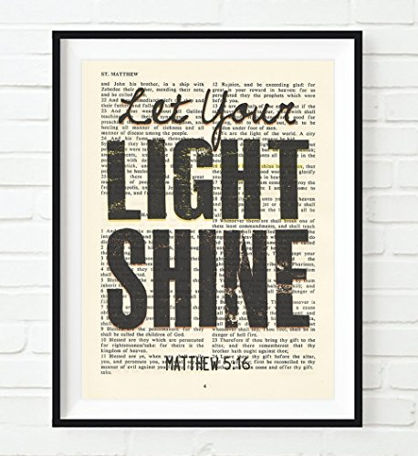 Let Your Light Shine, Matthew 5:16, Christian Art Print, Unframed, Vintage Bible Page Verse Scripture Wall and Home Decor Poster, Inspirational Gift, 8x10 Inches