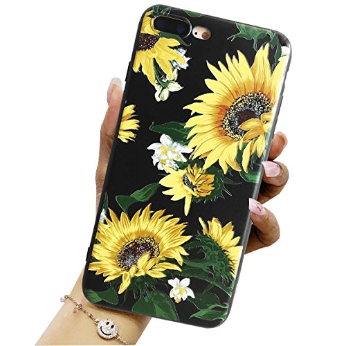 iPhone 8 Plus Case, iPhone 7 Plus Case with Sunflowers, J.west Hybrid Protective Scratch Resistant Cover Floral Pattern Soft Flexible TPU Back Cover for Apple iPhone 7 Plus 2016 / iPhone 8 Plus 5.5