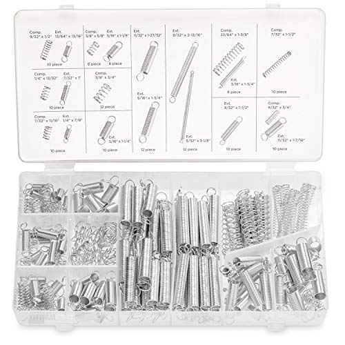 (Neiko 50456A Spring Assortment Set, 200 Pieces | Zinc Plated Compression and Extension Springs for Repairs)