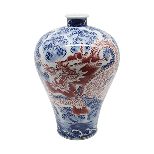 Legends of Asia Asian Traditional Chinese Blue and White Plum Vase with Copper Red Dragon ()