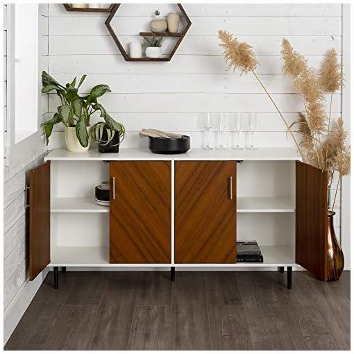 Living Room Walker Edison Caye Modern 4 Door Bookmatch-Buffet, 58 Inch, White and Teak modern tv stands