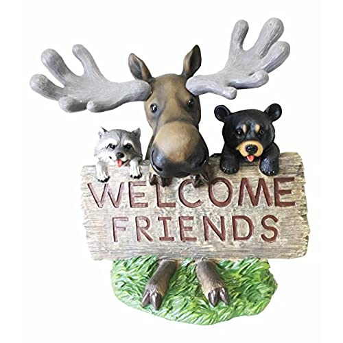 Nice Whimsical Moose Welcome Sign Statue With Bear And Raccoon For Outdoor Decor  Sculptures Front Yard Art Or Lawn Ornaments Decorations