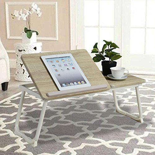 -[ Laptop Desk Bed Tray Coavas Foldable Sofa Sturdy Notebook Stand with 3 Height Adjutable Radian f