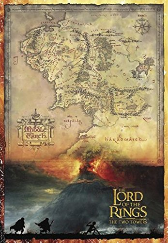 Close-Up-Pster-The-Lord-of-The-Rings-The-Two-Towers-Mapa-de-la-Tierra-Media-68cm-x-98cm-1-pster-Sorpresa-de-Regalo