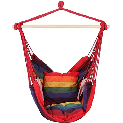 EverKing Hanging Rope Hammock Chair Porch Swing Seat, Large Hammock Net Chair Swing, Cotton Rope Porch Chair for Indoor, Outdoor, Garden, Patio, Porch, Yard - 2 Seat Cushions Included (Red Stripe) - Stripe Cricket