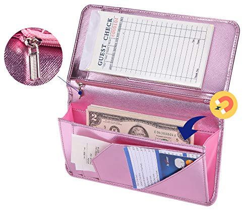 Mymazn Pink Server Book for Waitress Book with Zipper Pocket Server Wallet with Money Pocket and Zipper Pouch Restaurant Waitstaff Organizer, Guest Check Book Holder Money Pocket Fit Server Apron