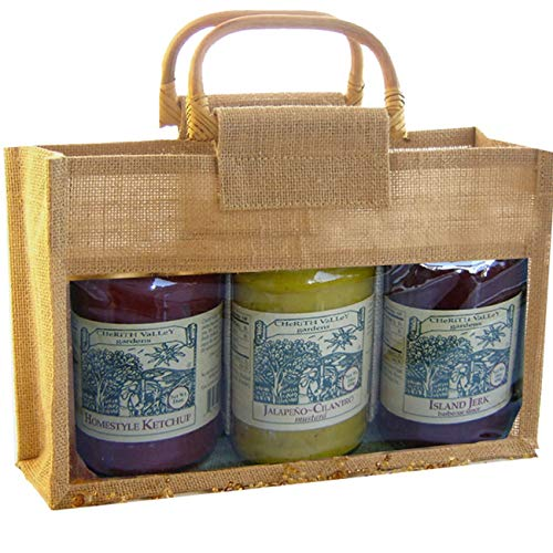 """10.75"""" Natural Jute Bottle Gourmet Bags with Three Compartment from GC Home & Garden"""