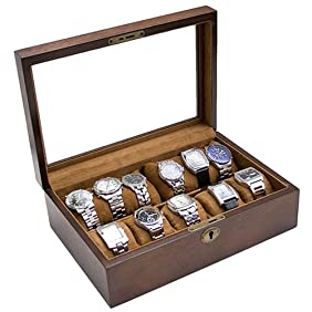 Caddy Bay Collection Vintage Wood Glass Clear Top Watch Display Storage Case Chest Holds 10+ Watches With Adjustable Soft Pillows and High Clearance for Larger Watches