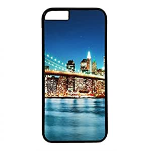 Hard Back Cover Case for iphone 6 Plus,Cool Fashion Black PC Shell Skin for iphone 6 Plus with City Bridge