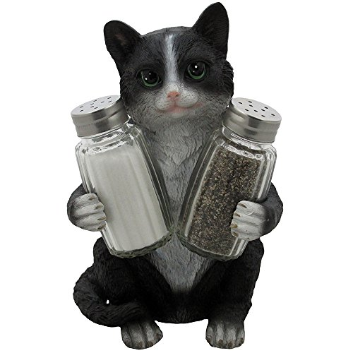 Decorative Black & White Kitty Cat Glass Salt and Pepper Shaker Set with Holder Figurine in Kitten Statues & Sculptures and Pet Kitchen Table Decor Gifts for Cat Lovers -