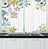 Lunarable Birds Kitchen Curtains, Blooming Floral Background with Tropical Birds Flying Away from Cages, Window Drapes 2 Panel Set for Kitchen Cafe, 55 W X 39 L Inches, Pale Green Brown Teal Review