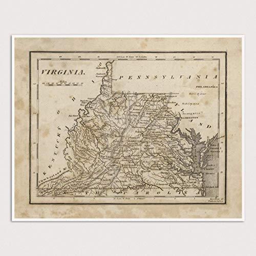 Amazon Com Old Virginia And West Virginia Map Art Print 1816