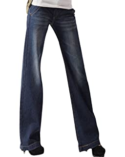 Bootcut Grande Oversize Droite Zhuikuna Femme Jeans Large Pantalons wnISF7q0