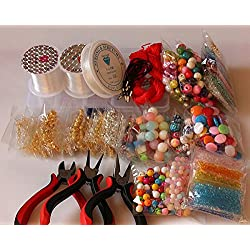 Adults Deluxe Jewelry Making Beads Mix Pliers Findings Starter Kit Gift Set (Approx 1200pcs) Jewelry Making Beads)