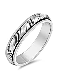 Oxidized Spinner Grooved Wedding Ring New .925 Sterling Silver Band Sizes 7-13