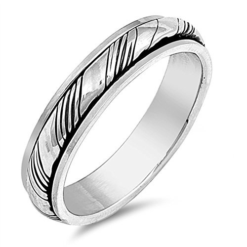 Oxidized Spinner Grooved Wedding Ring New .925 Sterling Silver Band Size 8