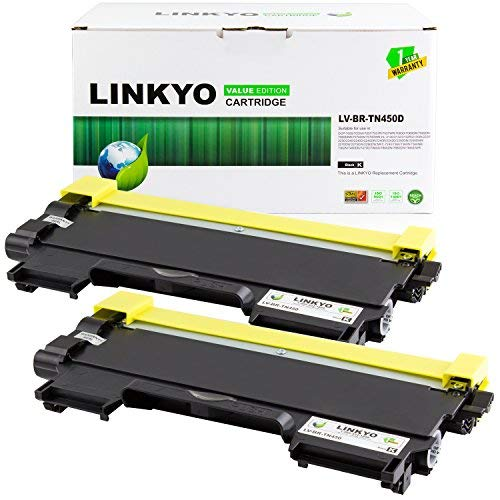 LINKYO Compatible Toner Cartridge Replacement for Brother TN450 TN-450 TN420 (Black, 2-Pack, Value Edition)