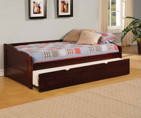 Bowiea Dark Cherry Daybed with Twin Trundle - Childrens Bed for Sale - Kids Trundle Beds
