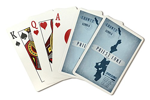 Priest Lake, Idaho - Lake Essentials - Shape, Acreage and County (Playing Card Deck - 52 Card Poker Size with Jokers) by Lantern Press