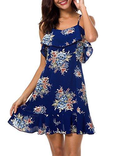 LEIYEE Womens Floral Cold Shoulder Ruffles Chiffon Mini Dresses Summer Casual Spaghetti Strap Dress - Flower Mini Dress