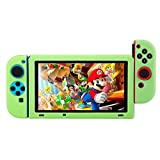 BUBM Soft Silicone Case Anti-slip Protective Cover Seperate bodies Case for Nintendo Switch (Green)