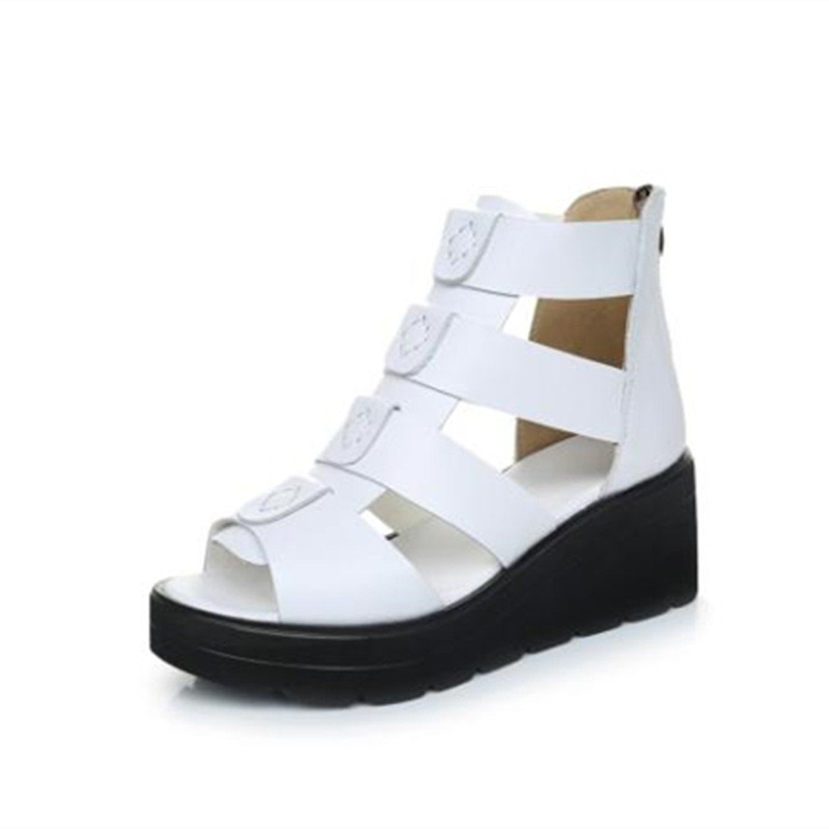 GTVERNH Zapatos de Mujer/Boca De Pez De Fondo Grueso De Verano Corto Botas Sandalias Y Sandalias Bizcocho Pescado Blanco Boca Hollow Botas.Cuarenta Blanco Forty|white