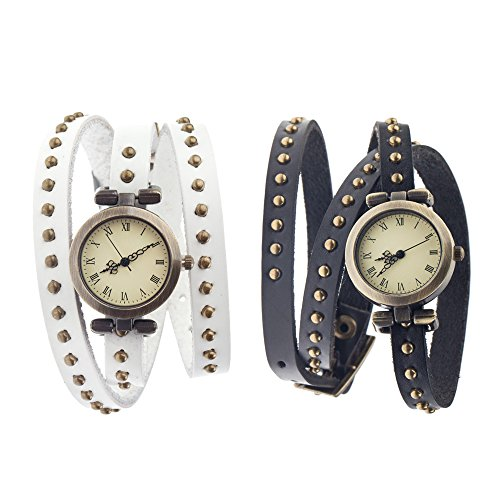 Fabulous Set of 2 Vintage Punk Style Quality Quartz Wrist Watches With Long Wrap Around Genuine Leather Straps / Bands / Bracelets In White And Black Colors Decorated With Bronze Metal Studs By VAGA