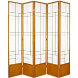 Oriental Furniture 7 ft. Tall Eudes Shoji Screen - Honey - 5 Panels