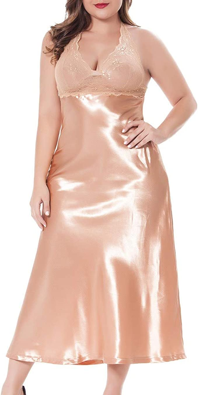 Damen Nachthemd Sexy Nachtwäsche Spitze Tiefer V-Ausschnitt