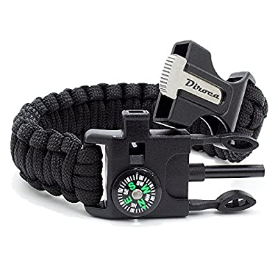 Paracord Bracelet Survival Kit   Black 550 Parachute Cord   5 in 1 Tactical Set w/ Compass, Fire Starter, Knife, Whistle & Rescue Rope   Outdoor Emergency Gear   Waterproof   2Pcs + Monkey Keychain