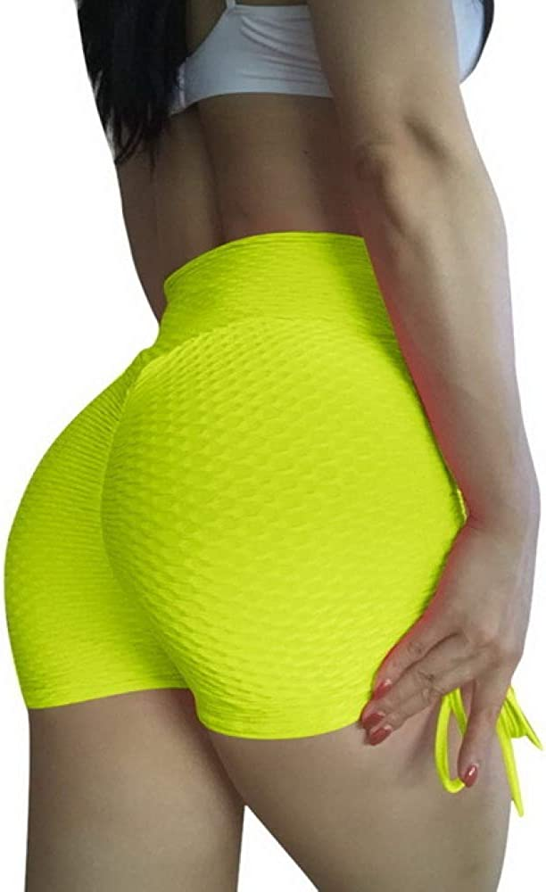 YUHUALI Push Up Summer Shorts Mujeres Workout Casual Style Mini Shorts Sexy Feminino Candy Color Transpirable con cordón Corto