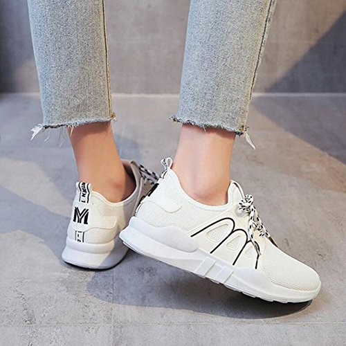 al deporte aire libre Blanco Zapatos Zapatos para mujer de Blanco para respirable Zapatos Zapatillas viaje Comodidad casuales Rosa correr atléticos GAOLIXIA Zapatos de Negro TZRax