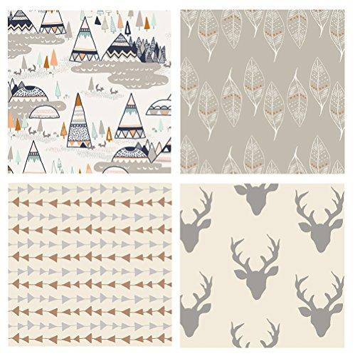4 FABRIC BUNDLE - Hello Bear - Indian Summer - Wanderer - Bonnie Christine - Art Gallery Fabrics - Deer Head Silo Antlers Leaves Tepees (Fat quarters)