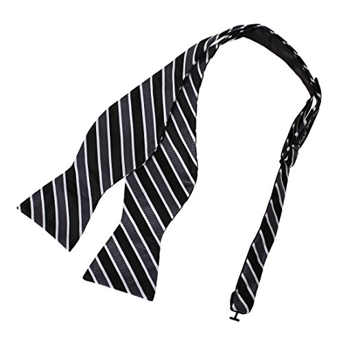 - Dan Smith DBA7A12F Black Grey Stripes Bow Tie Microfiber Friendship For Wedding Self-tied Bow Tie