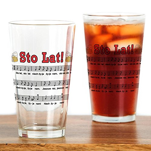 CafePress Sto Lat! Song With Beer Mugs Pint Glass, 16 oz. Drinking Glass