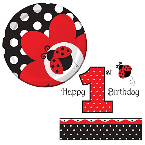 Ladybug Fancy Birthday Party Supplies Pack 16 Guests | 16 Paper Dessert Plates and 16 Paper Beverage Napkins | Adorable 1st Birthday Ladybug Paper Plates and Napkins Kids Birthday Party Bundle -