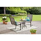 Mainstays 3-Piece Outdoor Bistro Set, Seats 2 (Light Grey with Charcoal Grill)