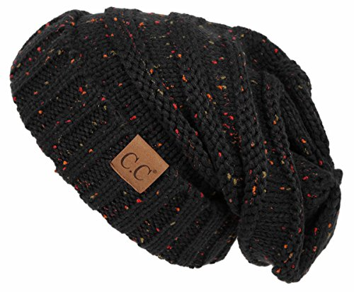 H-6100-2006 Oversized Slouchy Beanie - Black (Confetti)