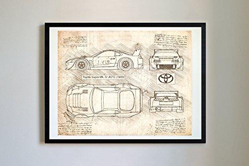 Toyota Car Photo - DolanPaperCo 182 Toyota Supra Mk IV 1995 Art Print, da Vinci Sketch – Unframed – Multiple Size/Color Options (8x10, Vintage)