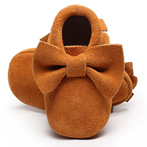 HONGTEYA Soft Sole Baby Moccasins - Premium Fringe Bow Leather Boys and Girls Shoes for Infant Toddlers(3-6 Months/US 4/4.53
