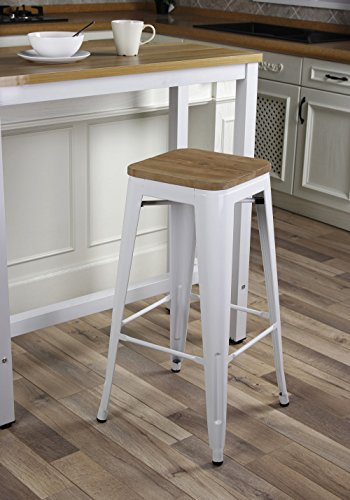 GIA White 30″ Metal Stool with Wooden Seat(Set of 2) – Bar Height Square Backless – Tolix Style – Weight Capacity of 300+ Pounds – Ready to use – Extra Durable and Stackable