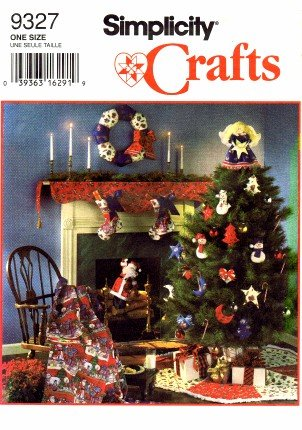 Simplicity 9327 Crafts Sewing Pattern Christmas Ornaments Wreath Stocking Tree Skirt Topper Scarf Santa Decorative Quilt (Christmas Star Pattern)