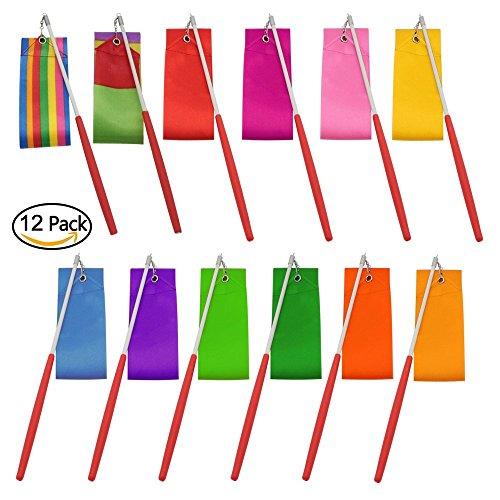 Amison Dance Ribbons Streamers Rhythmic Gymnastics Ribbon Wands Rods for Children Art Dances, Baton Twirling, 12 Pack ()