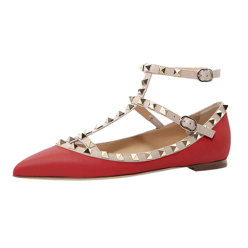 VOCOSI Women's Ankle Strap Studded Pointed Toe Pumps Rivets T-Strap Flat Pumps Dress B0794Z9ZBF 6 B(M) US|Red(manmade Leather With Gold Rivets)