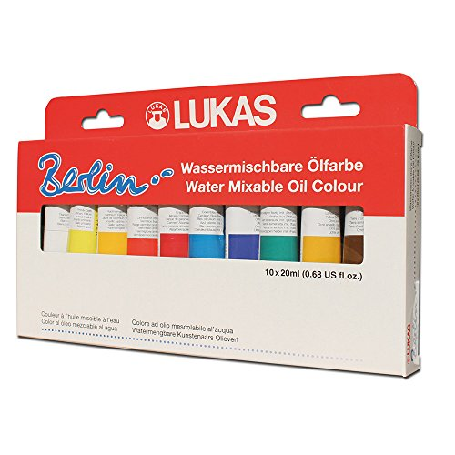 LUKAS Berlin Professional Quality Water Mixable Oil Color Paint Highly Pigmented Beeswax Oil Paint Selection Set of 10-20 ml Tubes - [Selection Set of 10]