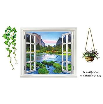 Schöner Landschaft Fenster Wandtattoo Wandaufkleber Wandsticker Wandbilder  für Schlafzimmer und Wohnzimmer