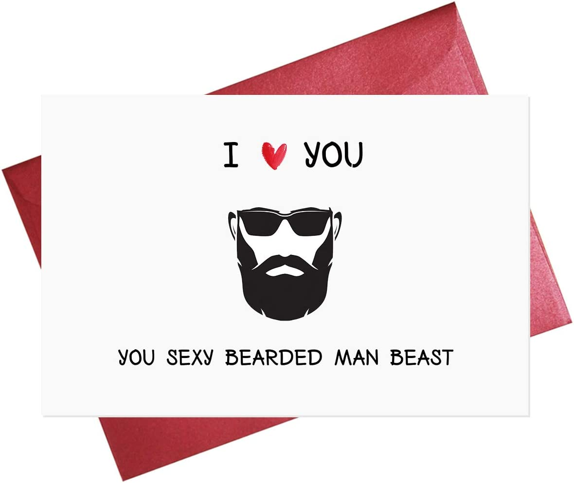 Funny Love Card for Husband Boyfriend, Sexy Beard Card Boyfriend, Valentines Day Card, Funny Birthday Card for Husband Boyfriend, Friendship Card, Male Friend Card